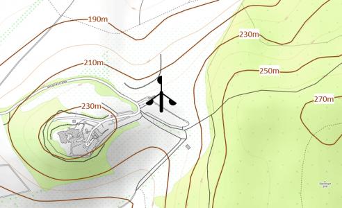 Lage der Windstation zwischen Burg Ronneburg und Steinkopf